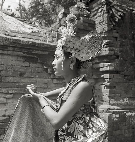 """""""Legong Dancer"""" Silver gelatin print 1939 Legong is a form of Balinese dance performed by pre-pubescent girls, who begin training as early as the age of five. Three dancers perform a pantomimed enactment of various myths from the Ramayana, a Hindu epic. The dance was traditionally performed for the aristocracy, and the dancers are highly esteemed in Balinese society."""