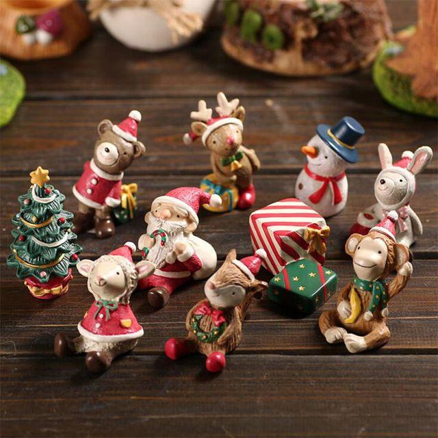 Albero di natale Animale Pupazzo di Neve Cervi Sant Claus Miniatura figurine Decorazione Fata Giardino statue In Resina mestieri ornamenti giocattolo TNJ056