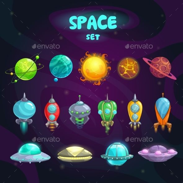 Space Cartoon Icons Set Vector EPS. Download here: https://graphicriver.net/item/space-cartoon-icons-set/15587817?ref=ksioks