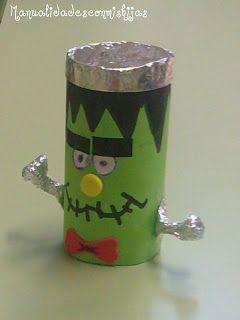 Manualidades con mis hijas. Para Halloween. Frankestein hecho con tubo de cartón del baño. halloween kid craft.