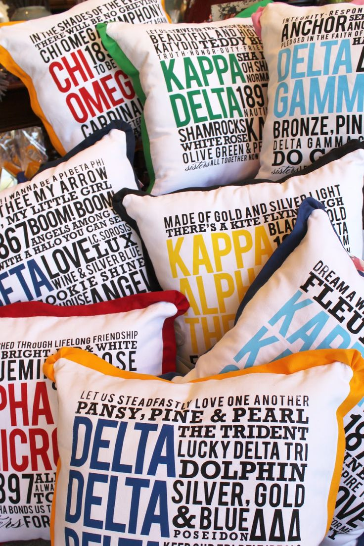apparently not available online, but i might do a DIY version for my sister... hmm. ||  Catherine Ann Herrington Art: Rebel Rush - Sorority Pillows