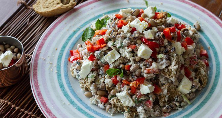 Σαλάτα με μαυρομάτικα φασόλια και ρύζι