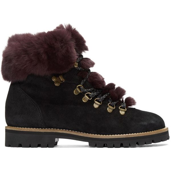 Mr and Mrs Italy Black Chinchilla Fur Boots (700 CAD) ❤ liked on Polyvore featuring shoes, boots, black, lacing hiking boots, lacing boots, black shoes, lace up shoes and laced up boots