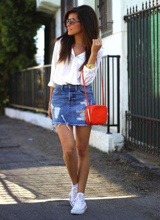 Blue denim skirt with crisp white shirt