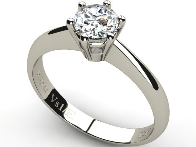 White Gold Solitaire Diamond Ring 0.50 ct - Paul Jewelry