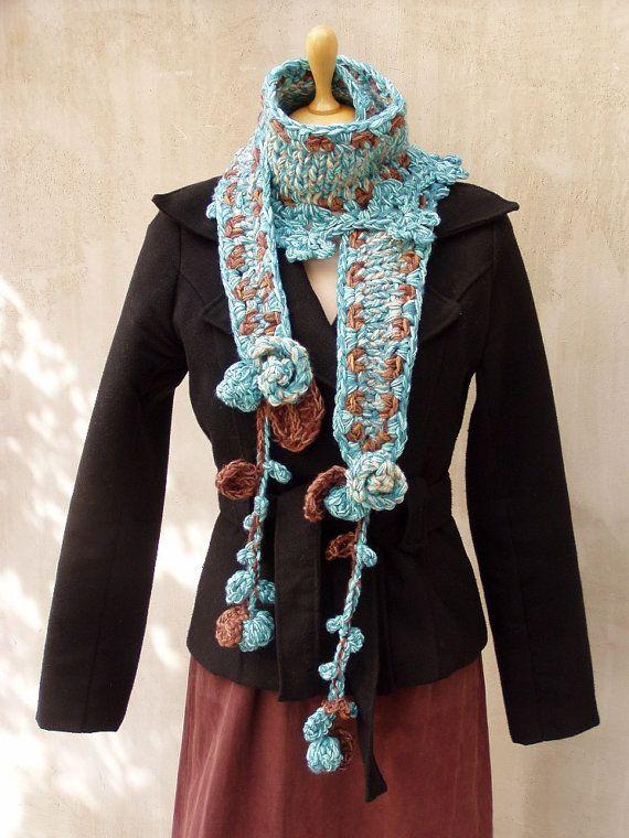 Bufanda hecha a mano boho largo caliente invierno, forma libre crochet punto abrigo bufanda OOAK