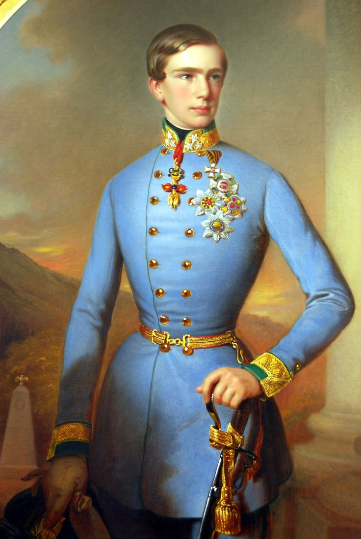 Franz Joseph I, 1848. This rather improbable silhouette became fashionable in the 1830s and lasted until c.1855-60. Some men wore corsets (which looks to be the case here). Winterhalter portraits of the Prince Consort display similar lines.