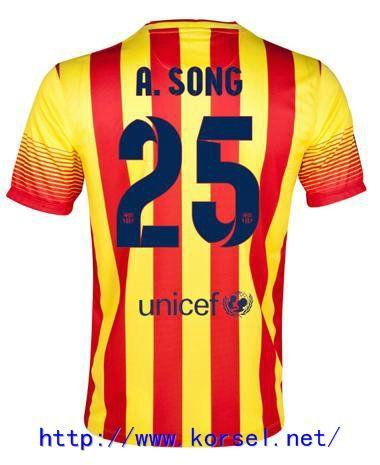 Maillot de foot Barcelone Exterieur 2013 2014 (25 A.Song) Rouge Jaune Pas Cher http://www.korsel.net/maillot-de-foot-barcelone-exterieur-2013-2014-25-asong-rouge-jaune-pas-cher-p-3115.html