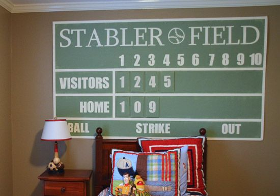 Love this homemade score board for a boys room!  LOVE!