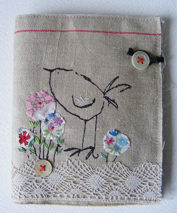 etsy site has lots of whimsical pieces using fabric and embroidery.  Pictures mounted on painting canvas