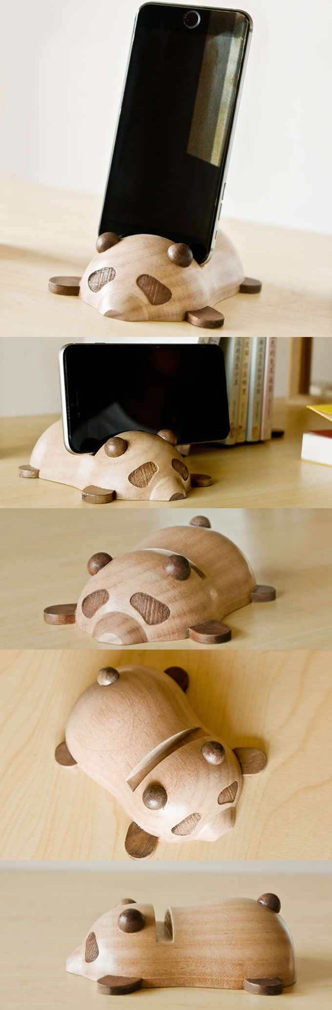 Wooden Panda IPhone IPad Mobile Phone Stand Holder Mount Business Cards  Holder To Organizer Your Office