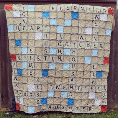 Scrabble Rag Quilt ~ this is the cutest this ever! Want to make this!!! Six inch block with fabric paint to make the letters.