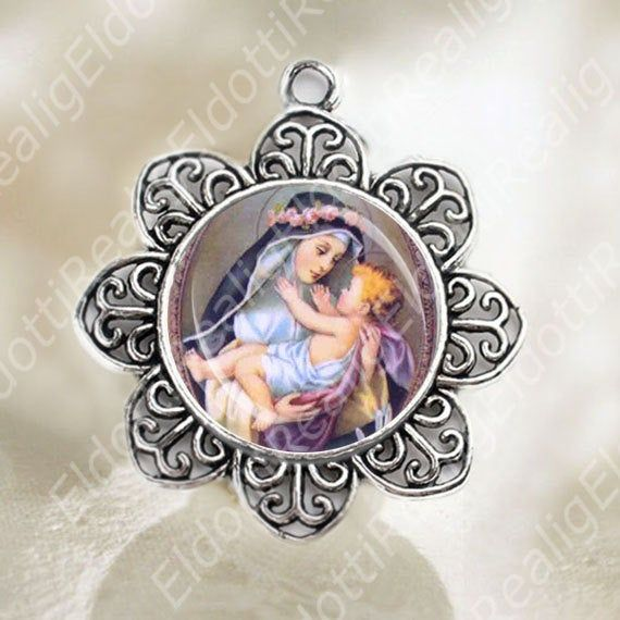 St Marie Rose Durocher Blessed Religious Round Medal Silver Tone Pendant with Rhinestones