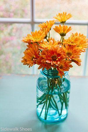 Mums in blue mason jar.  Simple and beautiful. #LAYogaHolidaySeason #FindBliss                                                                                                                                                      More