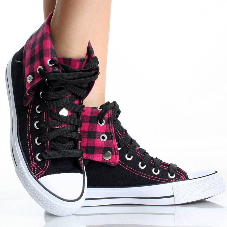 Womens High Top Sneakers Canvas Skate Shoes Pink Plaid Lace Up Boots