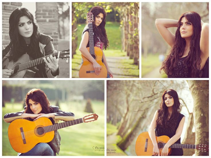 Barbara ; Paris photo session with a guitar