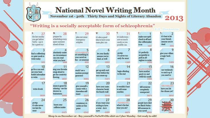 NaNoWriMo Advice: 30 Tips for Writing a Book in 30 Days