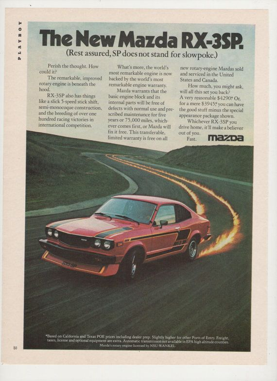 1977 Advertisement Mazda RX 3SP Red Sports Car 70s Muscle Car Sportscar  Driver Owner Fire Tracks Garage Dealership Wall Art Decor