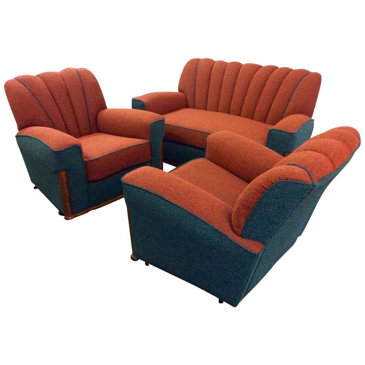 Art Deco Sofa and Pair of Armchairs Lounge Suite