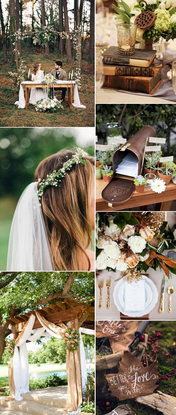 rustic and vintage  brown and greenery wedding color combo ideas for fall