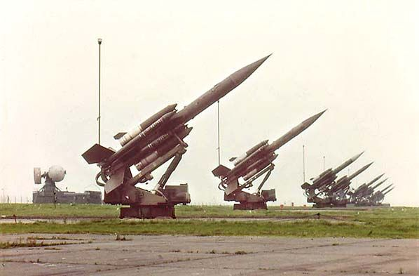 Bloodhound missiles on their launch pads with Scorpian control radar to the rear at RAF Holmpton/Partington