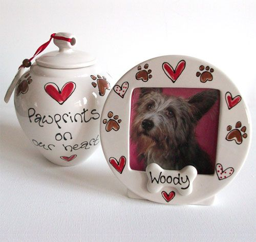 Beautiful hand painted personalised dog urn and matching photo frame http://www.dfordog.co.uk/personalised-dog-urn-photo-frame.html