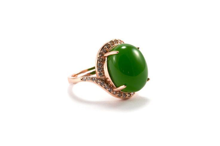 Rose Gold Jade Ring/ Green Jade Ring/ Diamond Jade Ring/ Rose Gold CZ Ring/ Nephrite Jade Ring by EverblissDesigns on Etsy https://www.etsy.com/listing/251393263/rose-gold-jade-ring-green-jade-ring