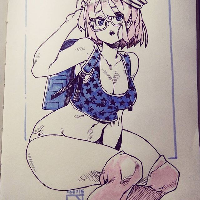 A doodle I referenced from Ai Shinozaki *7*))) #illustration #drawing #art #artwork #traditionalart #girl #cute #glasses #sailor #doodle