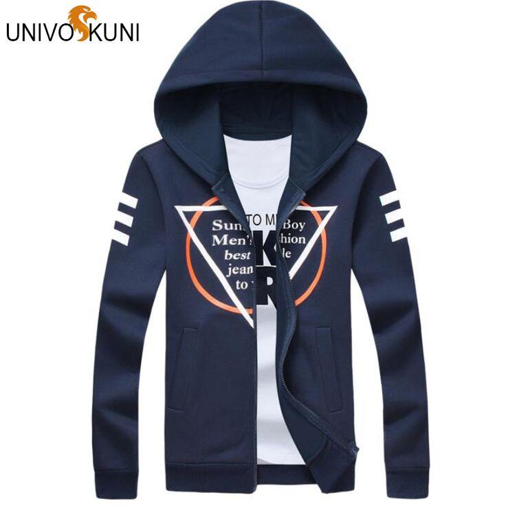 UNIVOS KUNI Men Sweatshirt New Fashion Men Overcoats Casual Indian Fashion Graffiti Hooded Jackets CoatsZ2665 #Affiliate