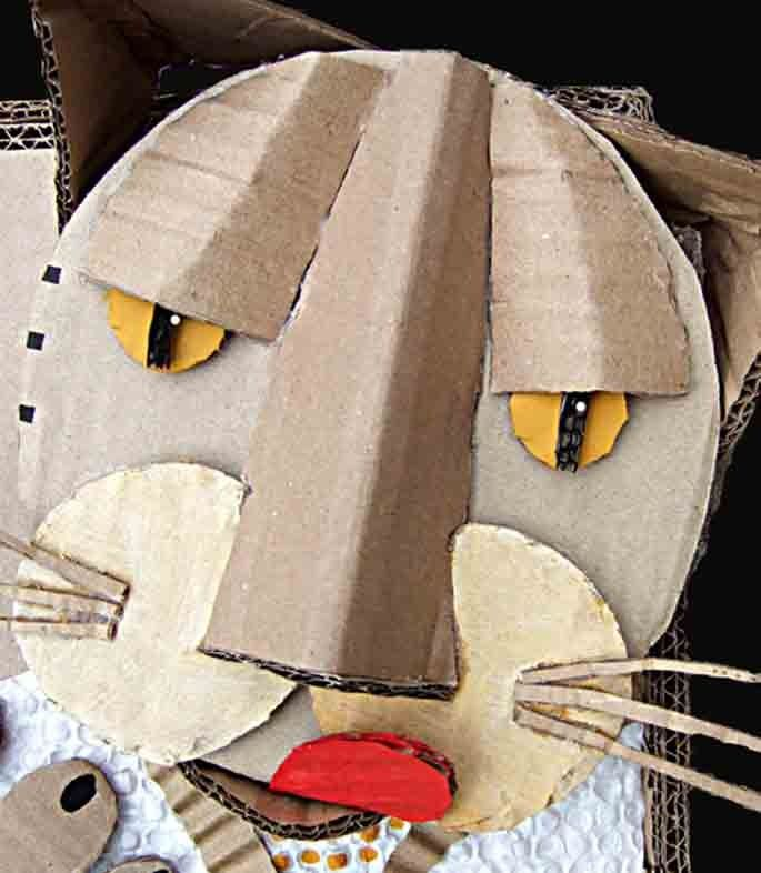 cardboard cat lesson ideas 3d pinterest carton animaux en papier et bricolage. Black Bedroom Furniture Sets. Home Design Ideas