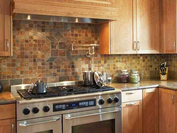 Mini stone tiles 30 rustic kitchen backsplash ideas for Rustic kitchen designs