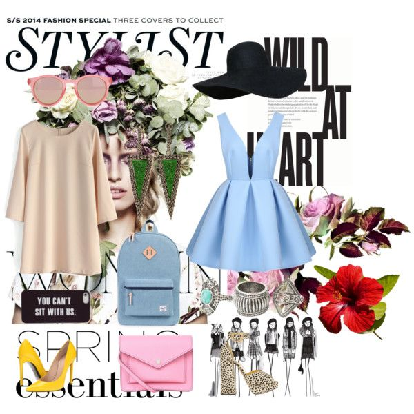 spring by josevro on Polyvore featuring moda, Chicwish, Stuart Weitzman, Charlotte Olympia, Marc by Marc Jacobs, MANGO, Kimberly McDonald, Le Specs and KAROLINA