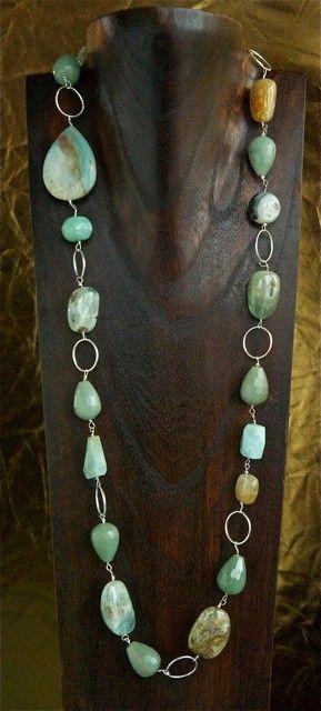 Silver, Aquamarine, Chalcedony Gemstone Necklace