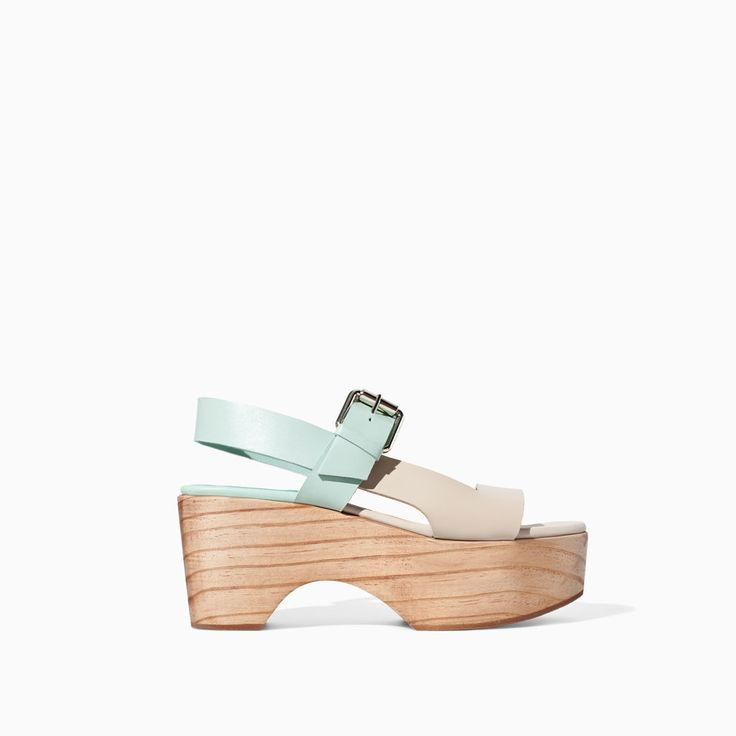 {TWO-TONE LEATHER WEDGE from Zara in Mint/Tan/ivory - under $100}