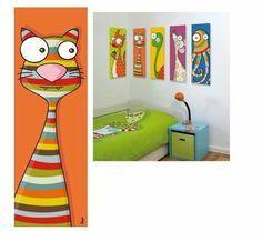 Tableau chat déco pour chambre enfant et bébé. Tableau rigolo et original !