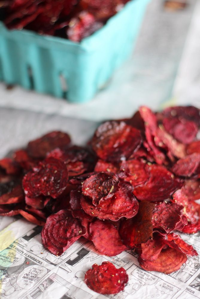 Crispy Rosemary and Garlic Beet Chips - So delicious even beet haters will love them. I know, because I am one. :)