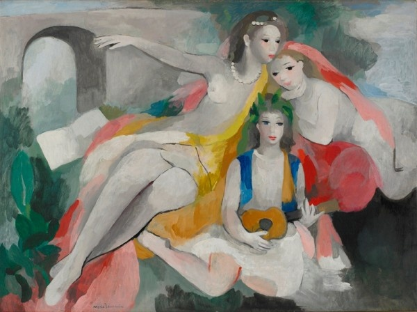 Marie Laurencin, Trois jeunes femmes, vers 1953 – Huile sur toile – 91 x 131 cm – Musée Marie Laurencin, Nagano-Ken, Japon ©Adagp, Paris 2012 http://www.offi.fr/expositions-musees/musee-marmottan-monet-2747/marie-laurencin-1883-1956-47503.html