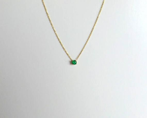 Emerald Solitaire Necklace 0 25 Ct 14k Gold Emerald Necklace Etsy Emerald Necklace Emerald Pendant Solitaire Necklaces