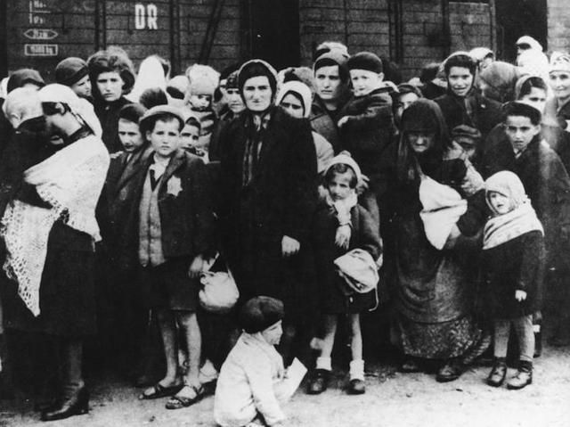 Holocaust Memorial Day May 5, 2016 (the 27th day in the month of Nisan — a week after the seventh day of Passover) .... This photo: Jews arriving at Auschwitz in 1944. (German National Archive/Wikimedia Commons)