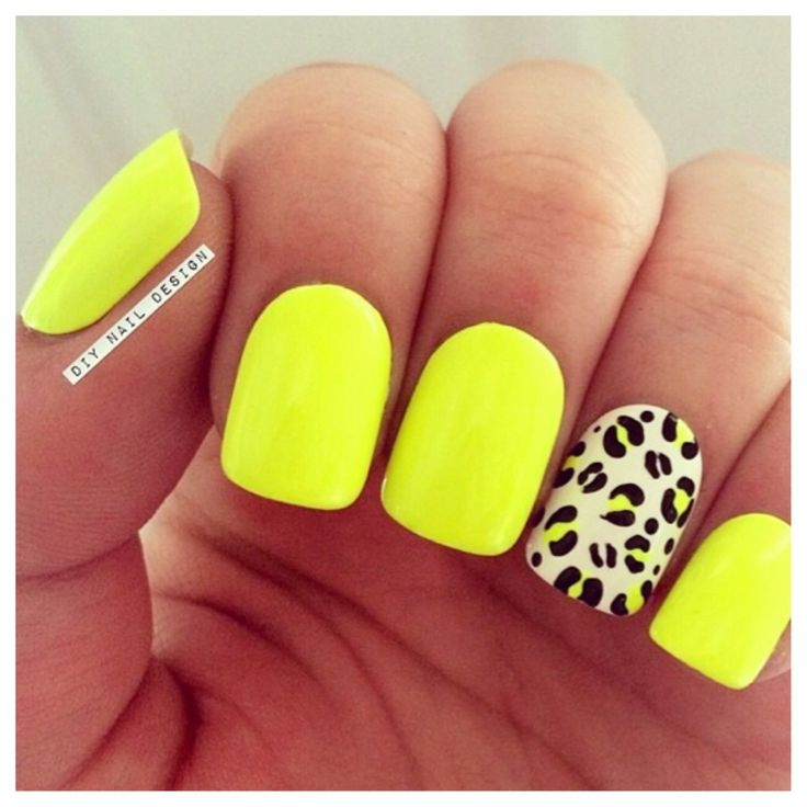Neon Yellow Nails and Leopard Print                              …