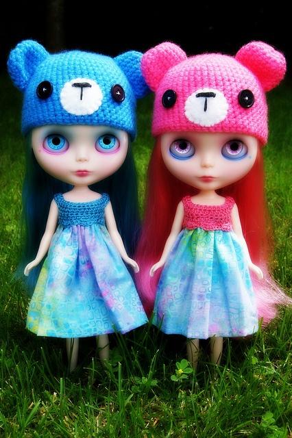 Blue & Pink, via Flickr. - Blythe Sock Monkey hats