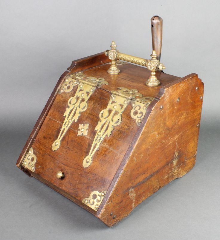 "Lot 1002, A Victorian oak and brass banded coal box 12""h x 13""w x 16""d, sold for £48"