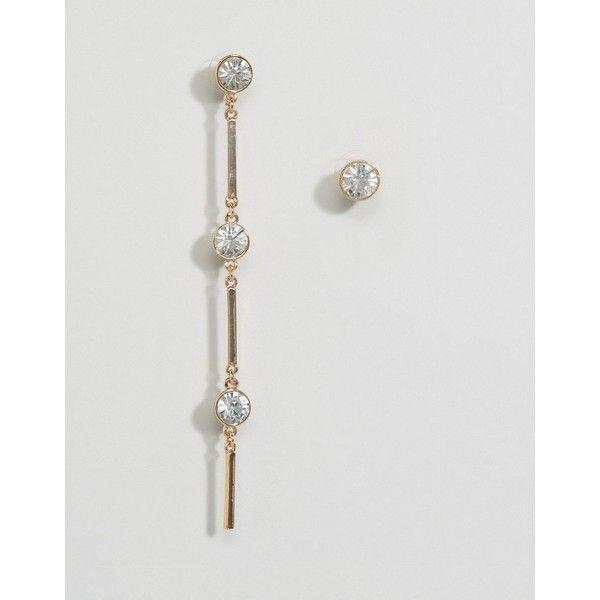 LoveRocks London Stud & Drop Mis-Match Earrings (720 INR) ❤ liked on Polyvore featuring jewelry, earrings, gold, cuff bangle bracelet, stud cuff earrings, bullet stud earrings, stud earrings and bullet earrings
