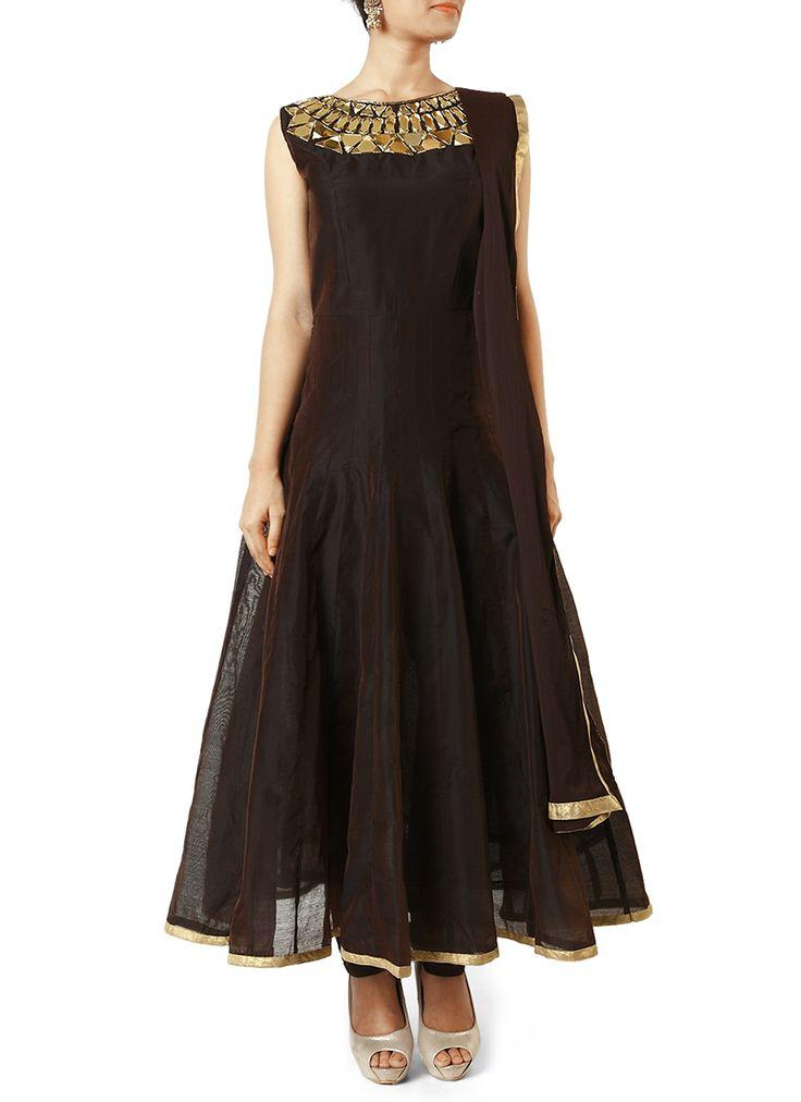 Brown Mirror Worked Anarkali Suit