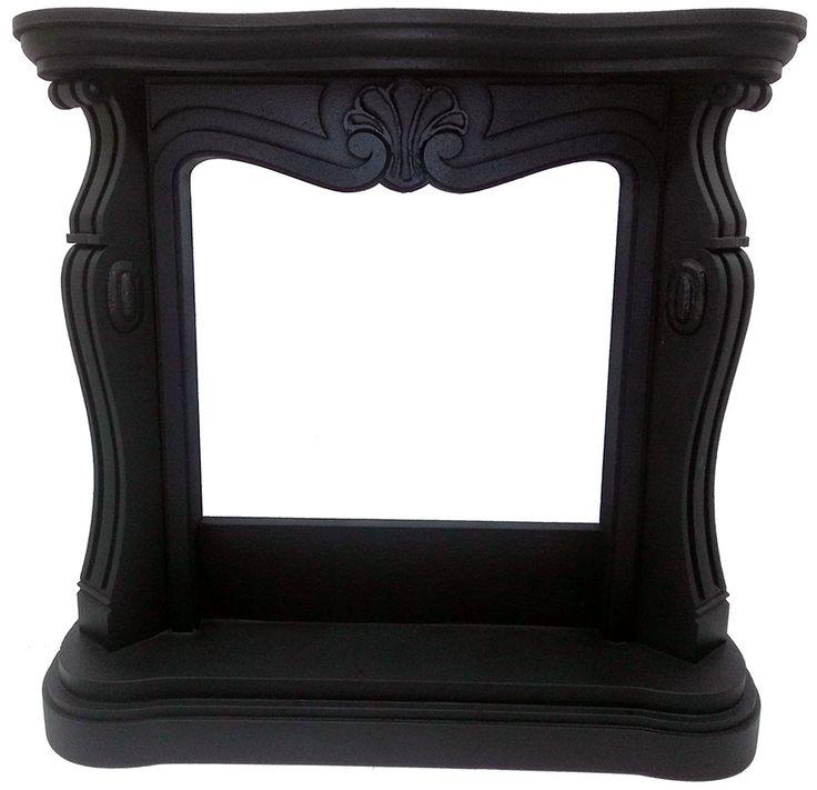 Faux fireplace Finto camino decorativo nero in stile Luigi XV modellato in polistirolo alta densità e rivestito in resina effetto pietra naturale. Disponibile su www.materik.it #caminofinto #caminifinti #caminonero