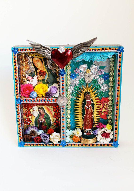 Our Lady of Guadalupe Shadow box shrine  - The Virgin Mary shrine or altar piece / Rainbow colorful / Mexican folk art