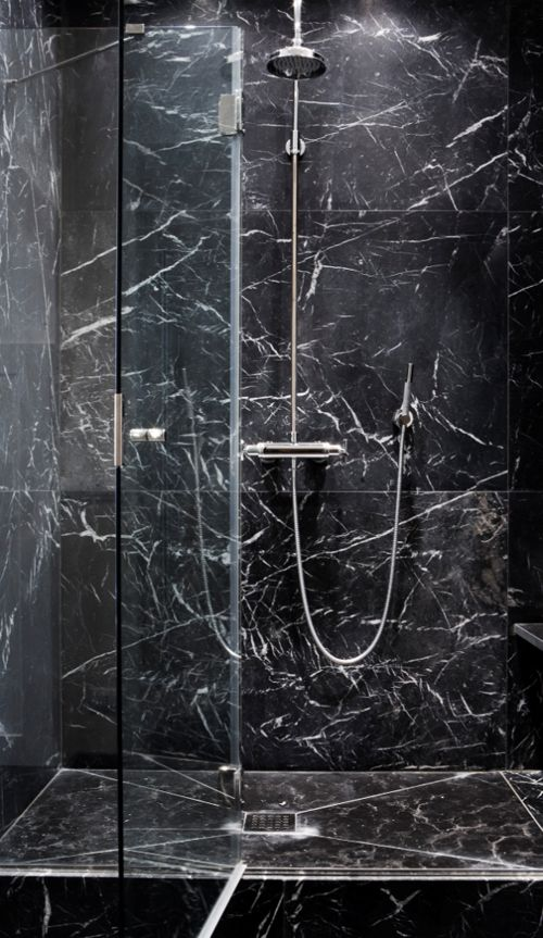 Minimalist, masculine sleek Black Marble shower _