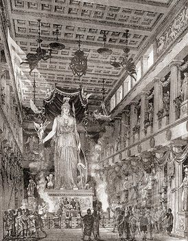 Stock Photo #1899-20652, The great ivory and gold statue of Athena in the Parthenon, Greece, as it would have looked in ancient times. From ...