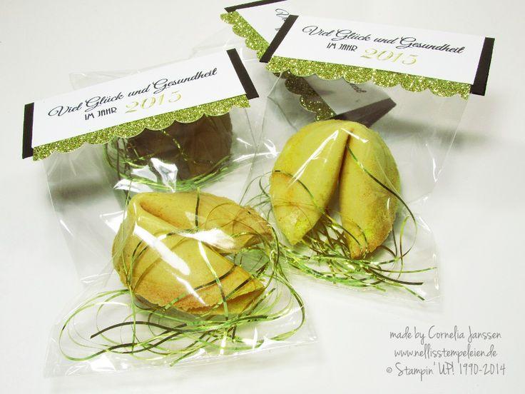 Nellis Stempeleien: Glückskekse mit Zellophantüte und Glitzerpapier von Stampin' UP! für die Silvesterfeier oder Neujahr; Fortune Cookie; New Year;