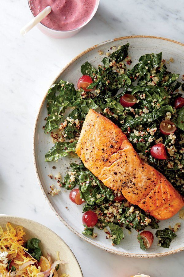 Roasted Salmon With Kale Quinoa Salad Recipe Recipe In 2020 Kale Quinoa Salad Vegetarian Recipes Healthy Lunch Recipes Healthy